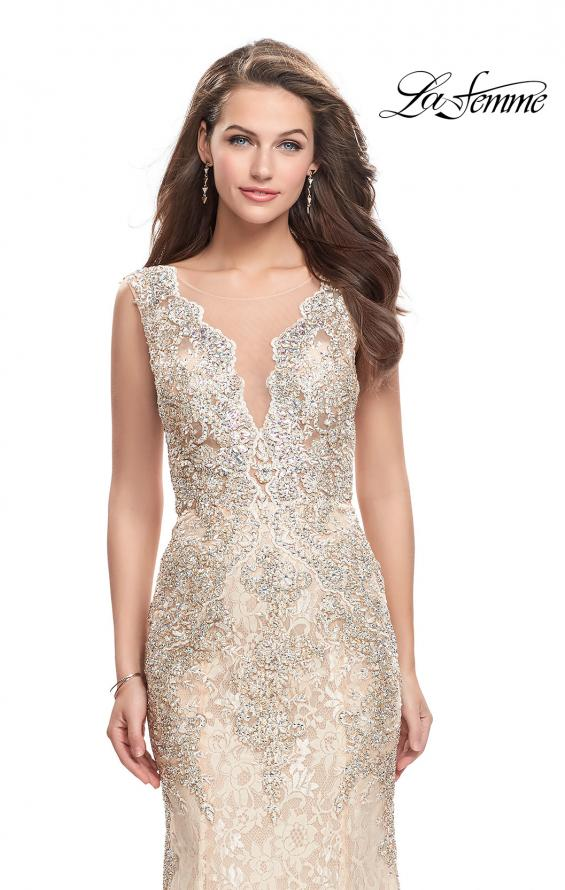 Picture of: Form Fitting Mermaid Lace Dress with Metallic Beading in Gold Nude, Style: 26125, Detail Picture 1