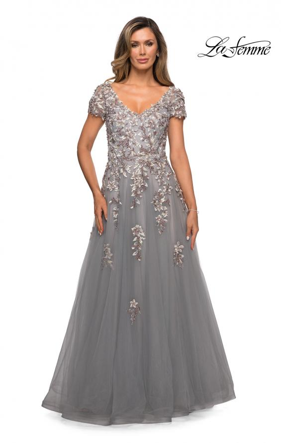 Picture of: Short Sleeve A-line Gown with Beaded Lace Appliques in Gray, Style: 27968, Main Picture