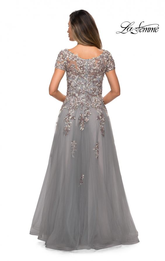 Picture of: Short Sleeve A-line Gown with Beaded Lace Appliques in Gray, Style: 27968, Back Picture