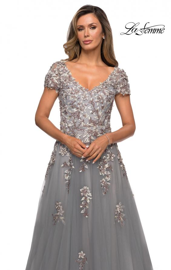 Picture of: Short Sleeve A-line Gown with Beaded Lace Appliques in Gray, Style: 27968, Detail Picture 1