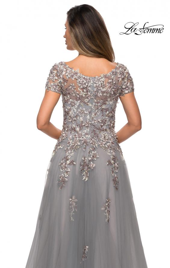 Picture of: Short Sleeve A-line Gown with Beaded Lace Appliques in Gray, Style: 27968, Detail Picture 2