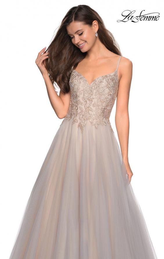 Picture of: Two Toned Long Tulle Gown with Embellished Bust in Gray/Nude, Style: 27674, Main Picture
