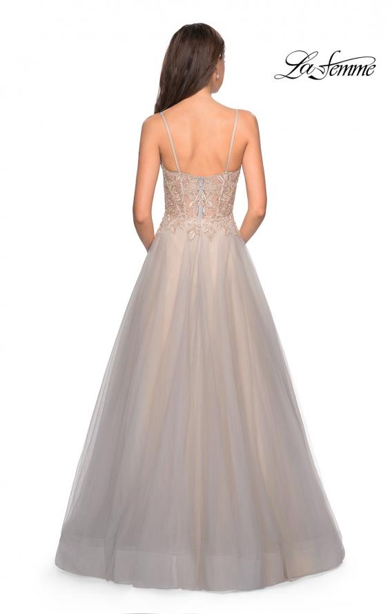 Picture of: Two Toned Long Tulle Gown with Embellished Bust in Gray/Nude, Style: 27674, Back Picture