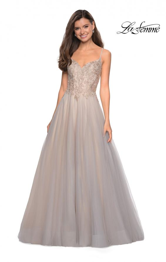 Picture of: Two Toned Long Tulle Gown with Embellished Bust in Gray/Nude, Style: 27674, Detail Picture 1