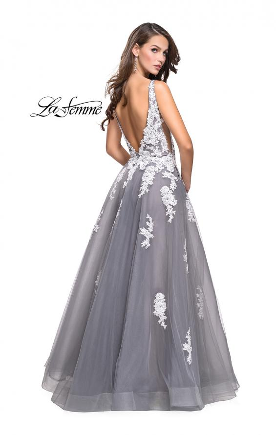 Picture of: Long Tulle Ball Gown with Lace Applique and Side Cut Outs, Style: 25624, Back Picture