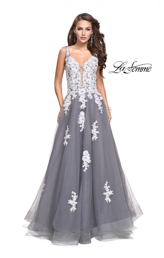 Picture of: Long Tulle Ball Gown with Lace Applique and Side Cut Outs in Gray White, Style: 25624, Detail Picture 2