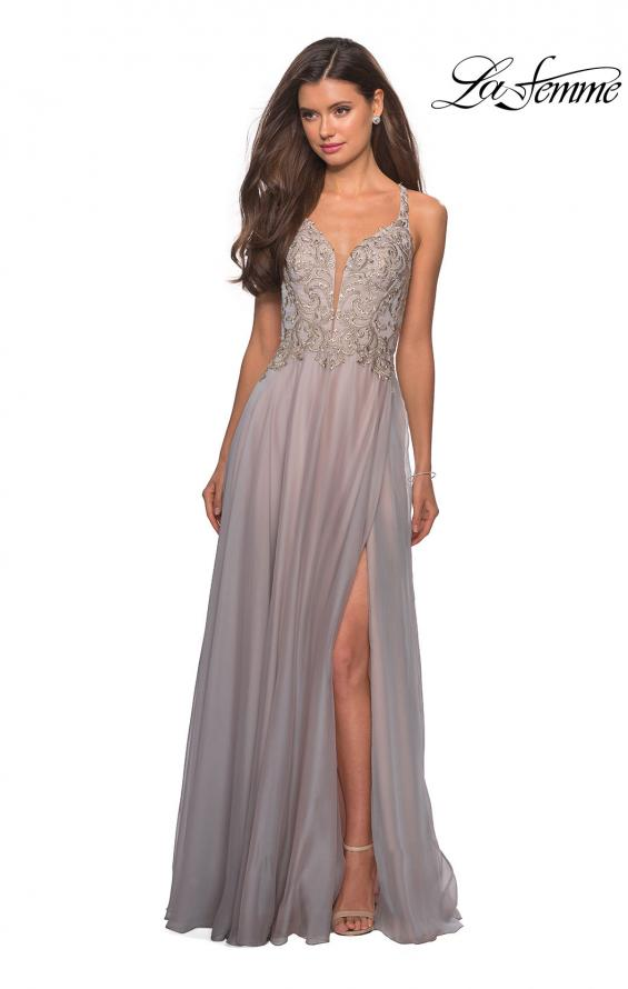 Picture of: Chiffon Long Dress with V Neck and Lace in Grey Pink, Style: 27729, Main Picture