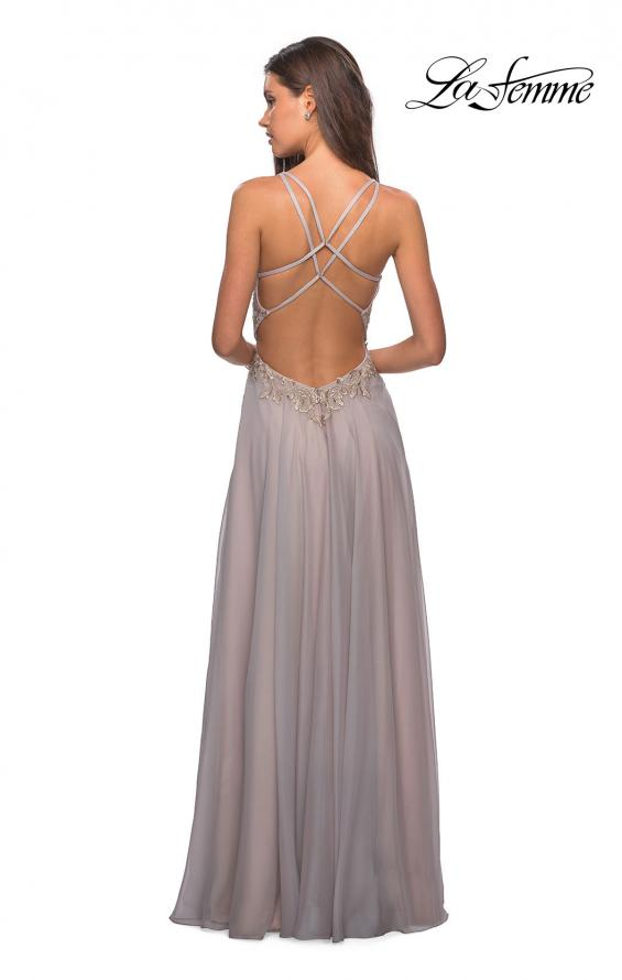 Picture of: Chiffon Long Dress with V Neck and Lace in Grey, Style: 27729, Back Picture