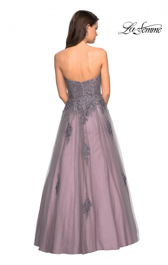 Picture of: Tone Tone Tulle Prom Gown with Floral Appliques, Style: 27767, Back Picture