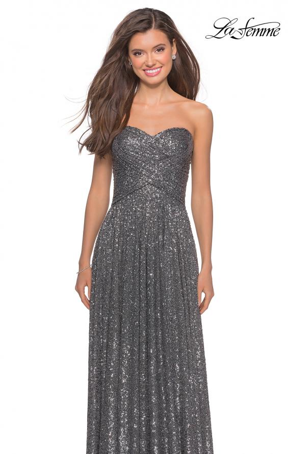 Picture of: Long Sequined Dress with Sweetheart Neckline in Gunmetal, Style: 27879, Detail Picture 3