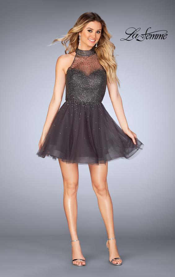 Picture of: Short Tulle Dress with High Neckline and Beading in Gunmetal, Style: 25293, Detail Picture 4
