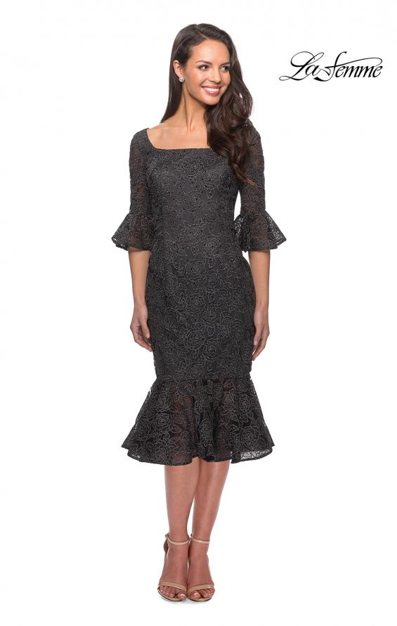 Picture of: Knee Length Lace Dress with Flared 3/4 Sleeves, Style: 25523, Main Picture