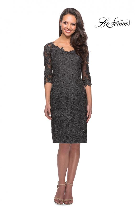 Picture of: 3/4 Sleeve Lace Tea Length Dress with Soft V-Neck, Style: 25525, Main Picture