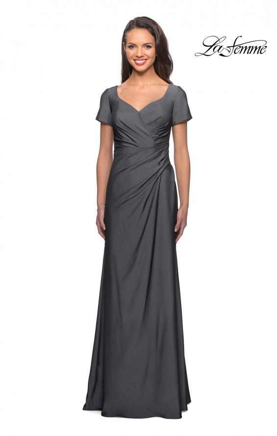 Picture of: Short Sleeve Floor Length Gown with Ruching in Gunmetal, Style: 27855, Main Picture
