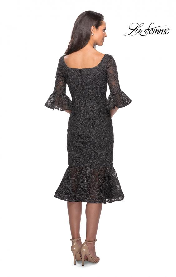 Picture of: Knee Length Lace Dress with Flared 3/4 Sleeves, Style: 25523, Back Picture
