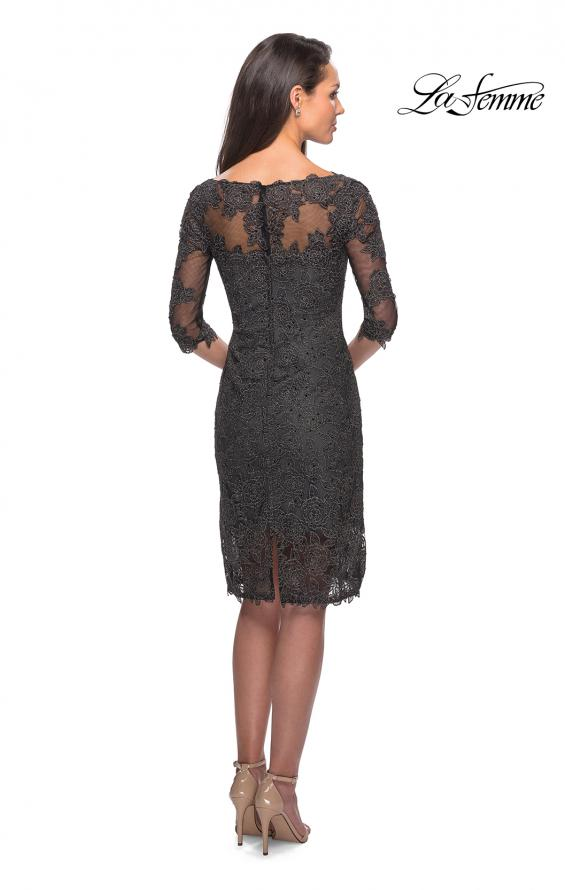 Picture of: 3/4 Sleeve Lace Tea Length Dress with Soft V-Neck, Style: 25525, Back Picture