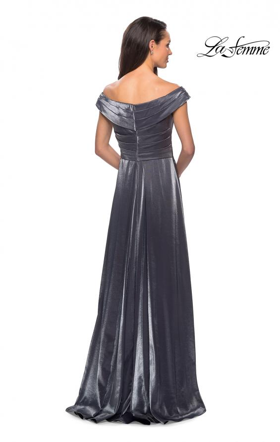 Picture of: Off the Shoulder Satin Gown with Ruching, Style: 27846, Back Picture