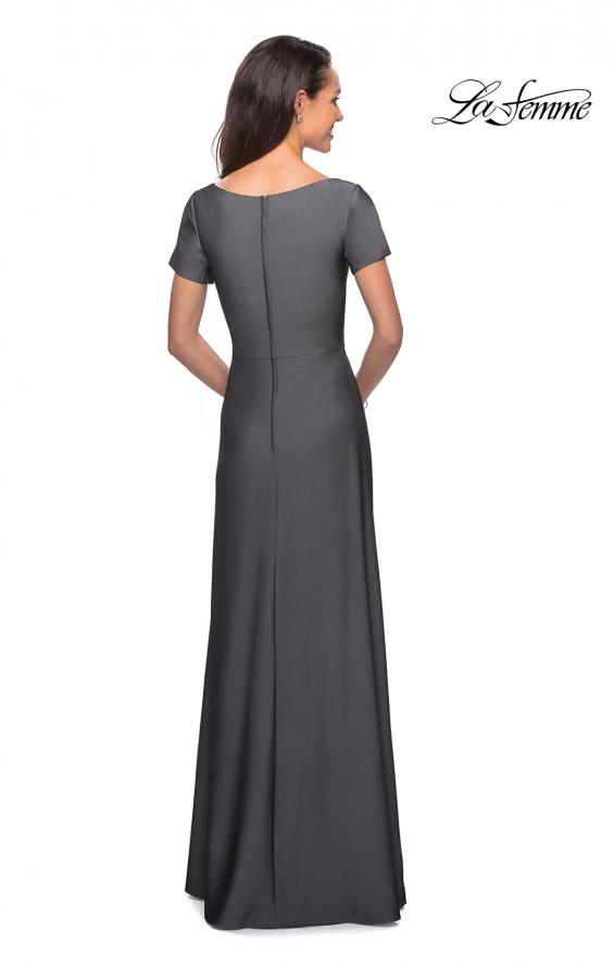 Picture of: Short Sleeve Floor Length Gown with Ruching in Gunmetal, Style: 27855, Back Picture