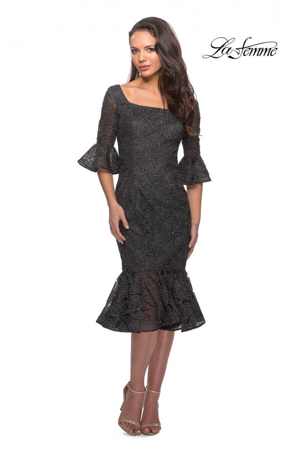Picture of: Knee Length Lace Dress with Flared 3/4 Sleeves, Style: 25523, Detail Picture 1