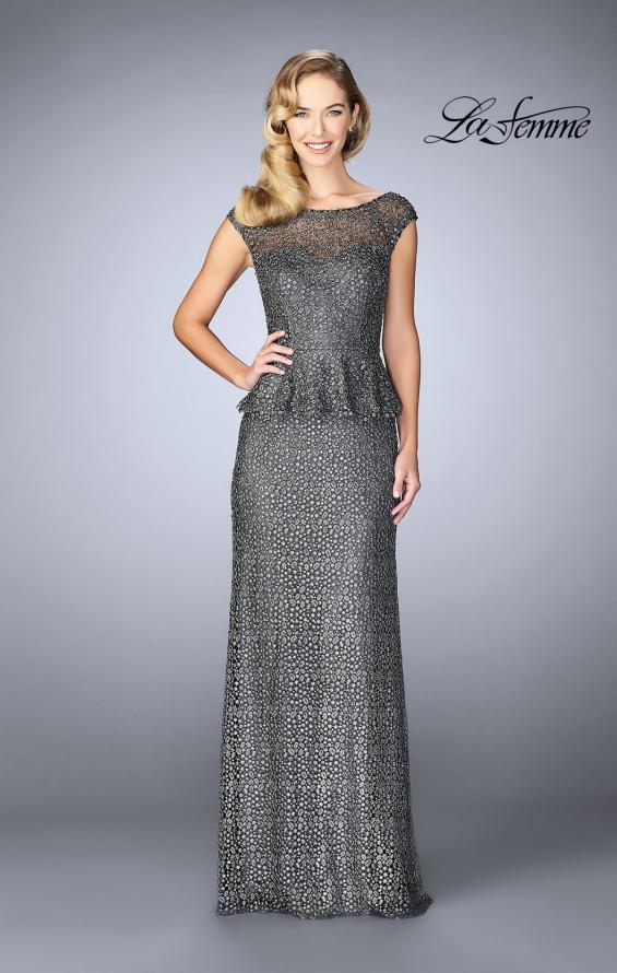 Picture of: Lace A-line Gown With Sheer Neckline and Peplum in Gunmetal, Style: 24896, Main Picture
