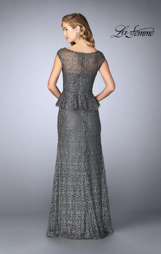 Picture of: Lace A-line Gown With Sheer Neckline and Peplum in Gunmetal, Style: 24896, Back Picture