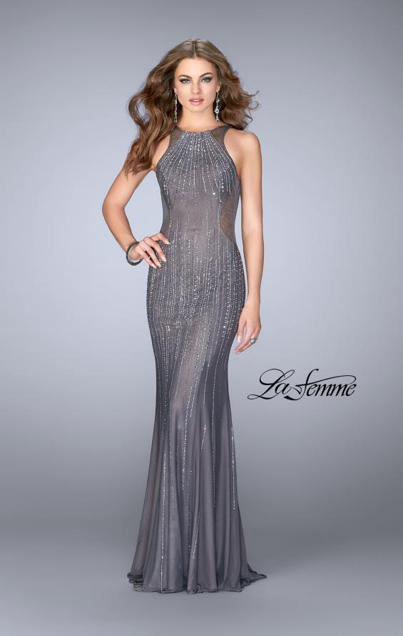 Picture of: Beaded Gown with Low Back and High Neckline, Style: 24790, Main Picture