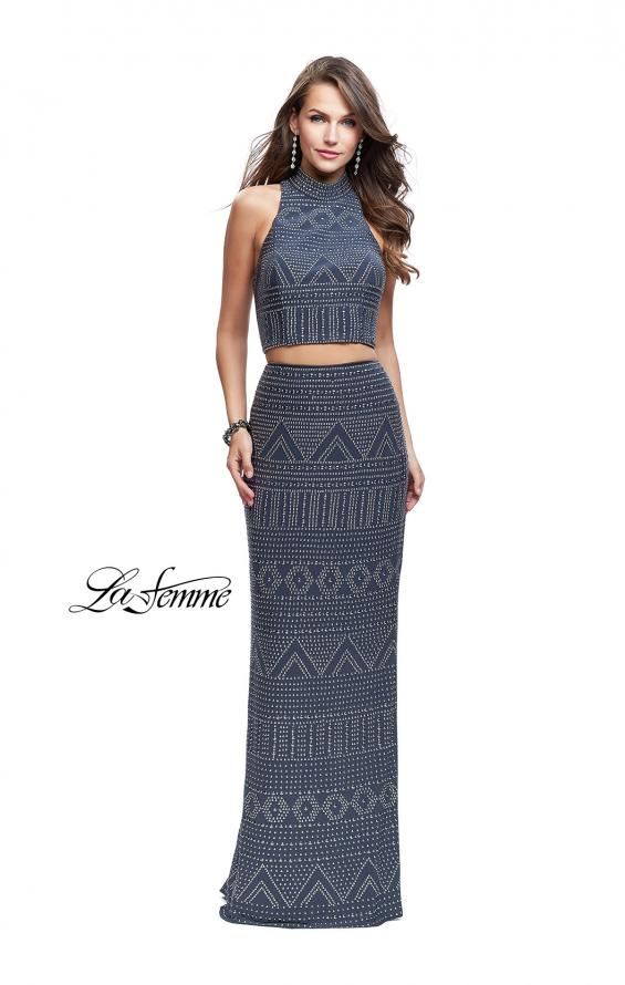 Picture of: Two Piece Form Fitting Prom Dress with Stud Beading in Gunmetal, Style: 26045, Main Picture