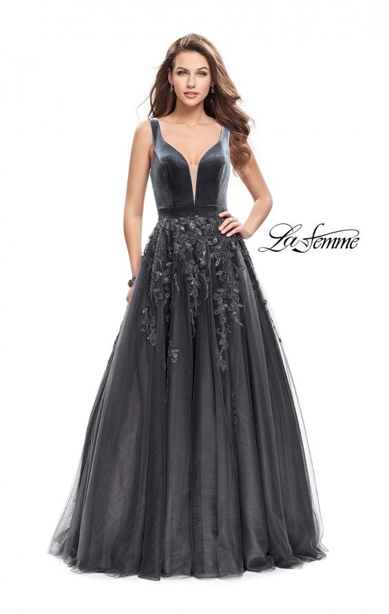 Picture of: A-line Prom Gown with Tulle Skirt and Velvet Bodice, Style: 26382, Main Picture