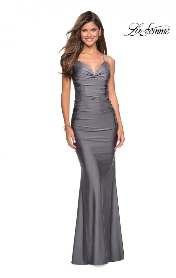 Picture of: Form Fitting Jersey Dress with Ruching and Strappy Back in Gunmetal, Style: 27501, Detail Picture 8