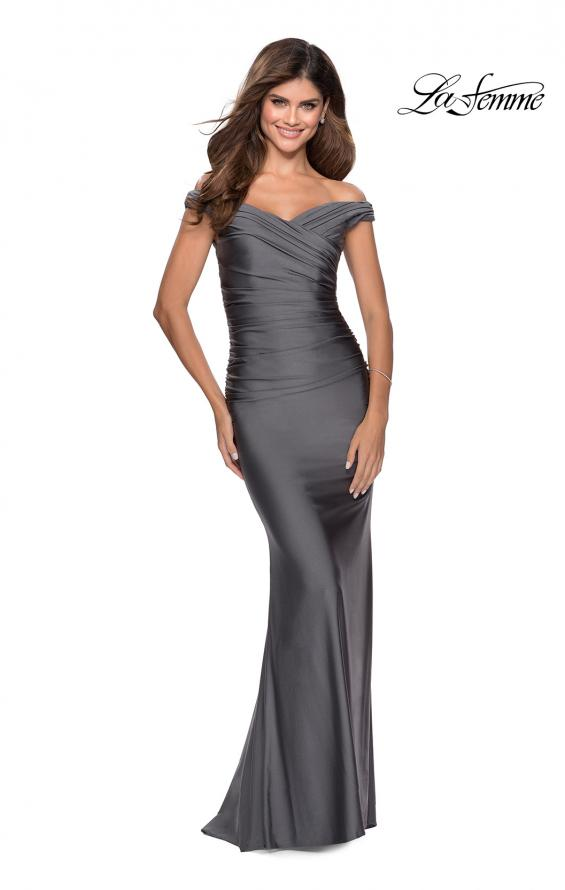 Picture of: Off the Shoulder Prom Dress with Sweetheart Neckline in Gunmetal, Style: 28450, Detail Picture 8