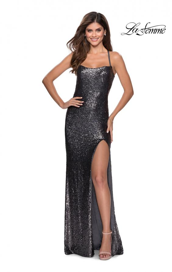 Picture of: Sequin Prom Dress with Criss Cross Open Back in Gunmetal, Style: 28514, Detail Picture 8