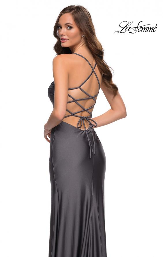 Picture of: Jersey Dress with Square Neckline and Ruching in Gunmetal, Style 29710, Detail Picture 8
