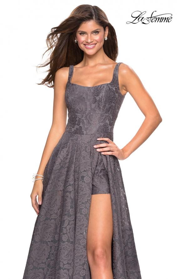 Picture of: Long Lace Prom Dress with Attached Shorts in Gunmetal, Style: 27476, Detail Picture 11