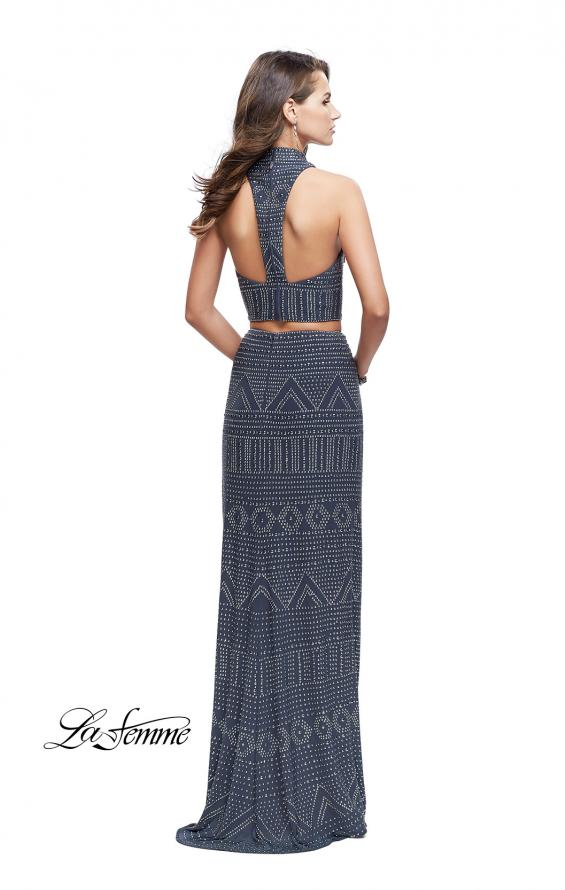 Picture of: Two Piece Form Fitting Prom Dress with Stud Beading in Gunmetal, Style: 26045, Back Picture