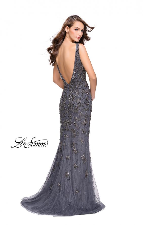 Picture of: Form Fitting Prom Dress with Metallic Beading and V Neck in Gunmetal, Style: 26054, Back Picture