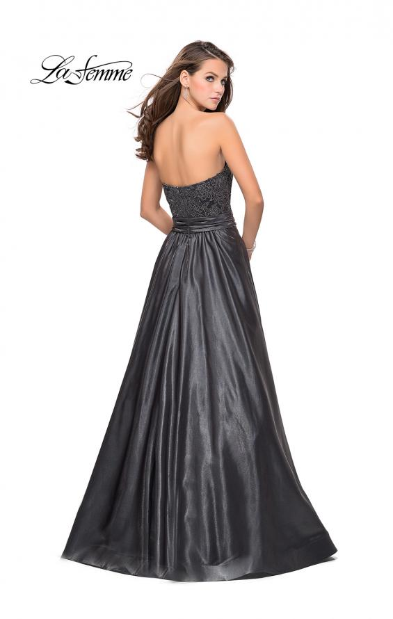Picture of: Metallic Lace Satin A-line Gown with Pockets in Gunmetal, Style: 26151, Back Picture