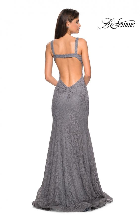 Picture of: Open Back Stretch Lace Long Prom Dress in Gunmetal, Style: 27709, Back Picture