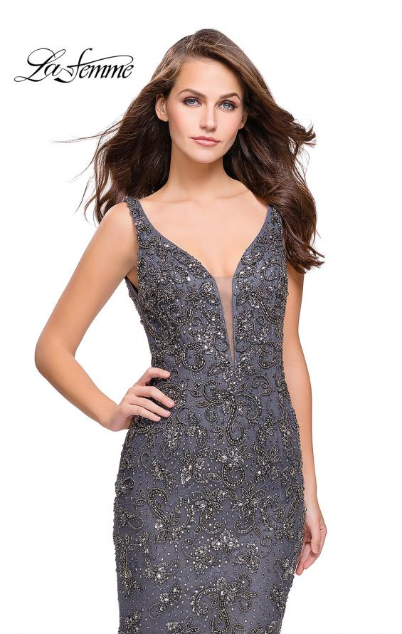 Picture of: Form Fitting Prom Dress with Metallic Beading and V Neck in Gunmetal, Style: 26054, Detail Picture 1