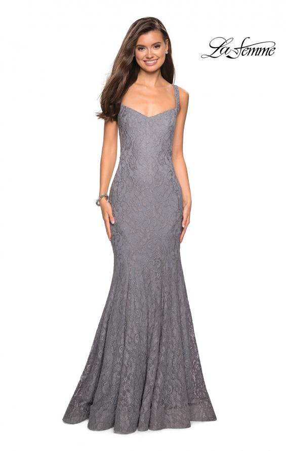 Picture of: Open Back Stretch Lace Long Prom Dress in Gunmetal, Style: 27709, Detail Picture 1