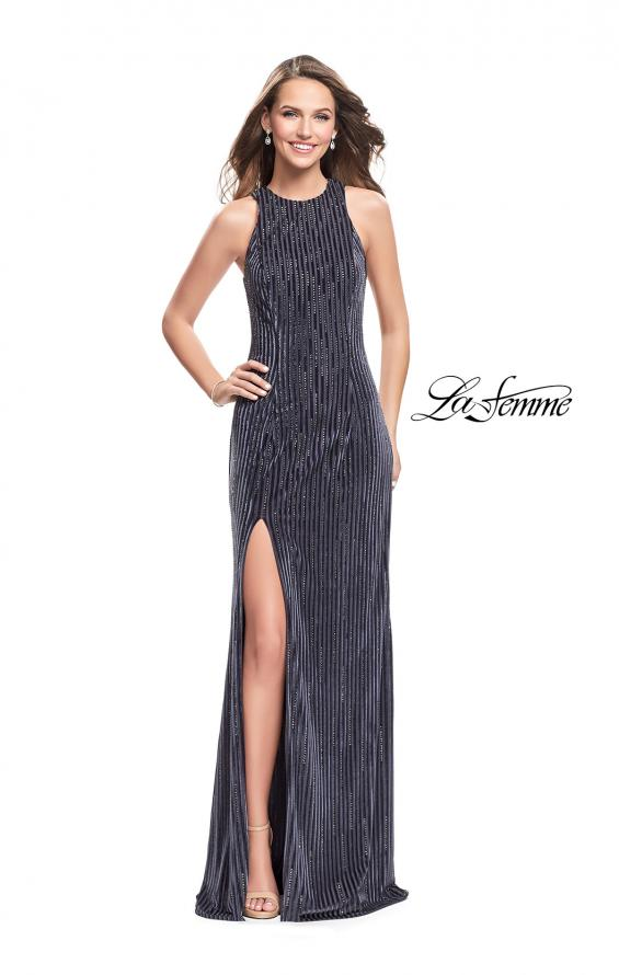 Picture of: Beaded Velvet Patterned Long Prom Dress with Slit, Style: 26116, Detail Picture 2