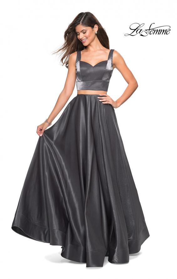 Picture of: Metallic Satin Two Piece Gown with Pockets in Gunmetal, Style: 27444, Detail Picture 2