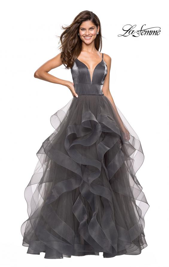 Picture of: Cascading Tulle Gown with Satin Top and V Back in Gunmetal, Style: 27502, Detail Picture 2