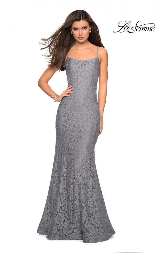 Picture of: Stretch Lace Gown with Square Neckline and Open Back in Gunmetal, Style: 27565, Detail Picture 2