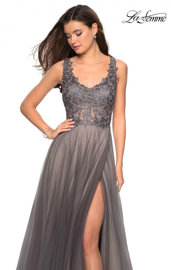 Picture of: Long Tulle Gown with Embellished Sheer Bodice, Style: 27574, Detail Picture 2