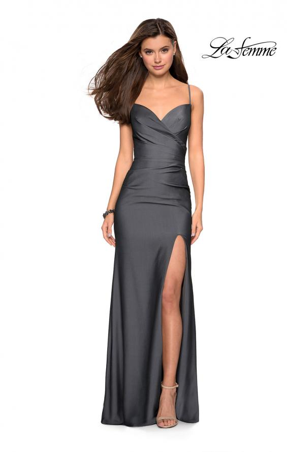 Picture of: Classic Long Jersey Gown with Side Ruching and Slit, Style: 27626, Detail Picture 2