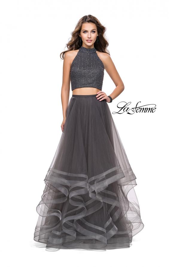 Picture of: Two Piece Prom Gown with Ruffle Tulle Skirt and Beading, Style: 26077, Detail Picture 3