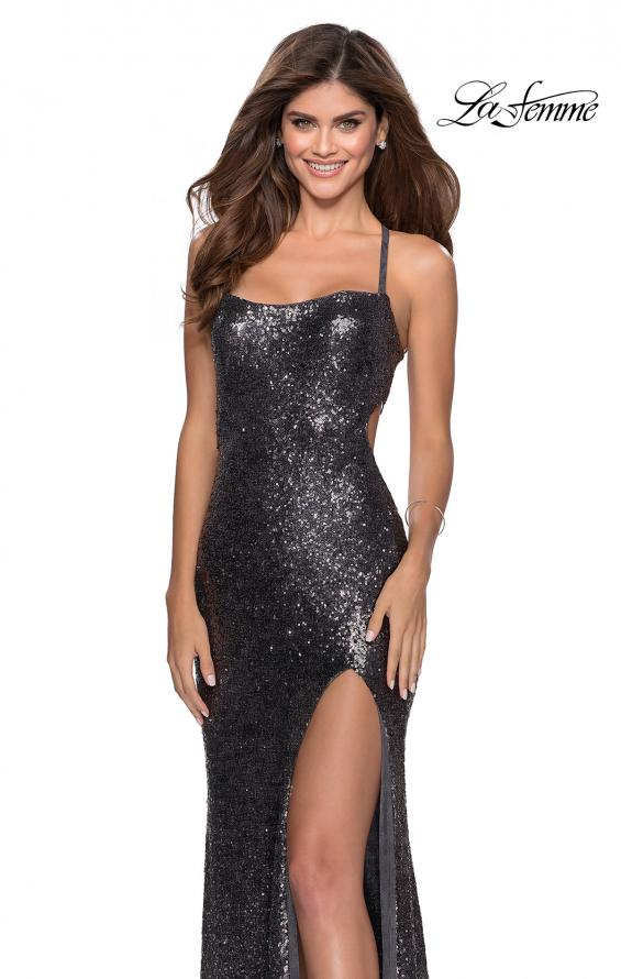 Picture of: Sequin Prom Dress with Criss Cross Open Back in Gunmetal, Style: 28514, Detail Picture 3