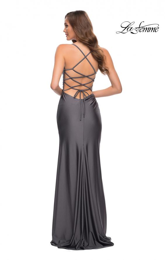 Picture of: Jersey Dress with Square Neckline and Ruching in Gunmetal, Style 29710, Detail Picture 3