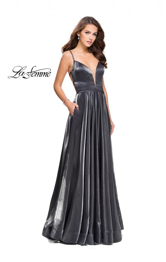 Picture of: Satin A-line Gown with Deep V Sweetheart Neckline in Gunmetal, Style: 25670, Detail Picture 2
