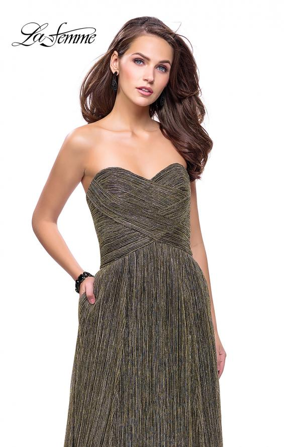 Picture of: Pleated Lame A-line Prom Dress with Ruched Bodice in Gunmetal, Style: 25886, Detail Picture 2
